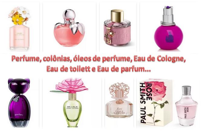 diferentes tipos de fragrância